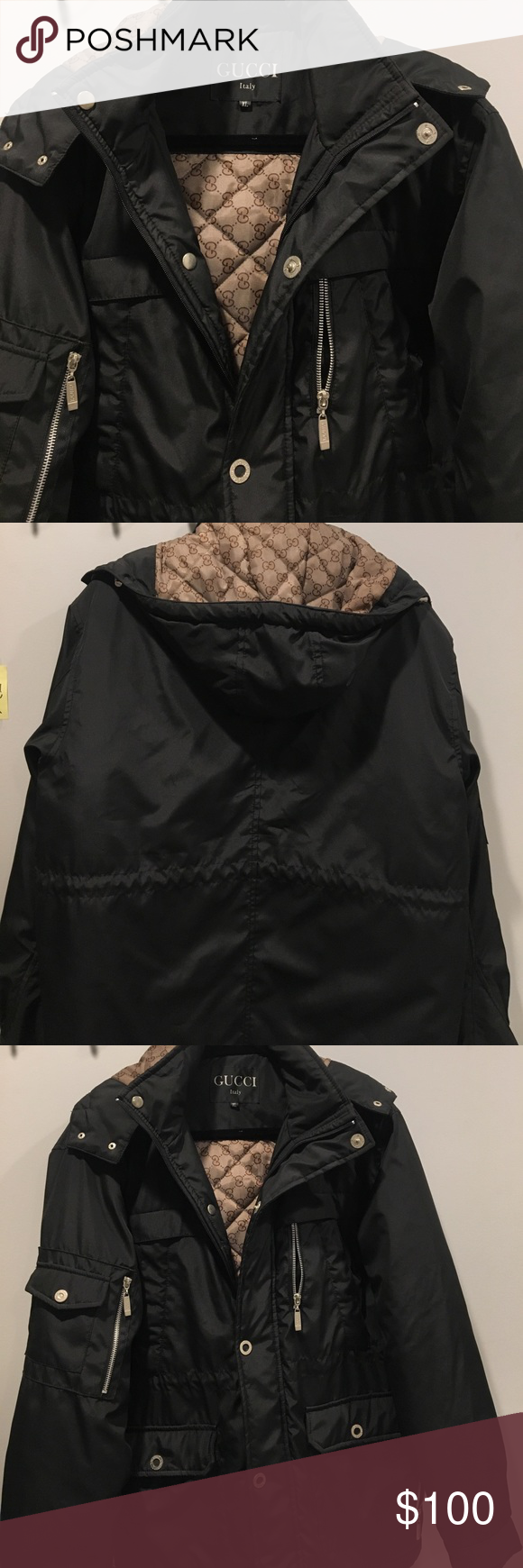 Gucci black puffy coat Black Gucci lined with monogram coat. Has inner drawstring for waist adjustment. Removable hoodie. Size XL. I would say fits M-L Gucci Jackets & Coats Puffers
