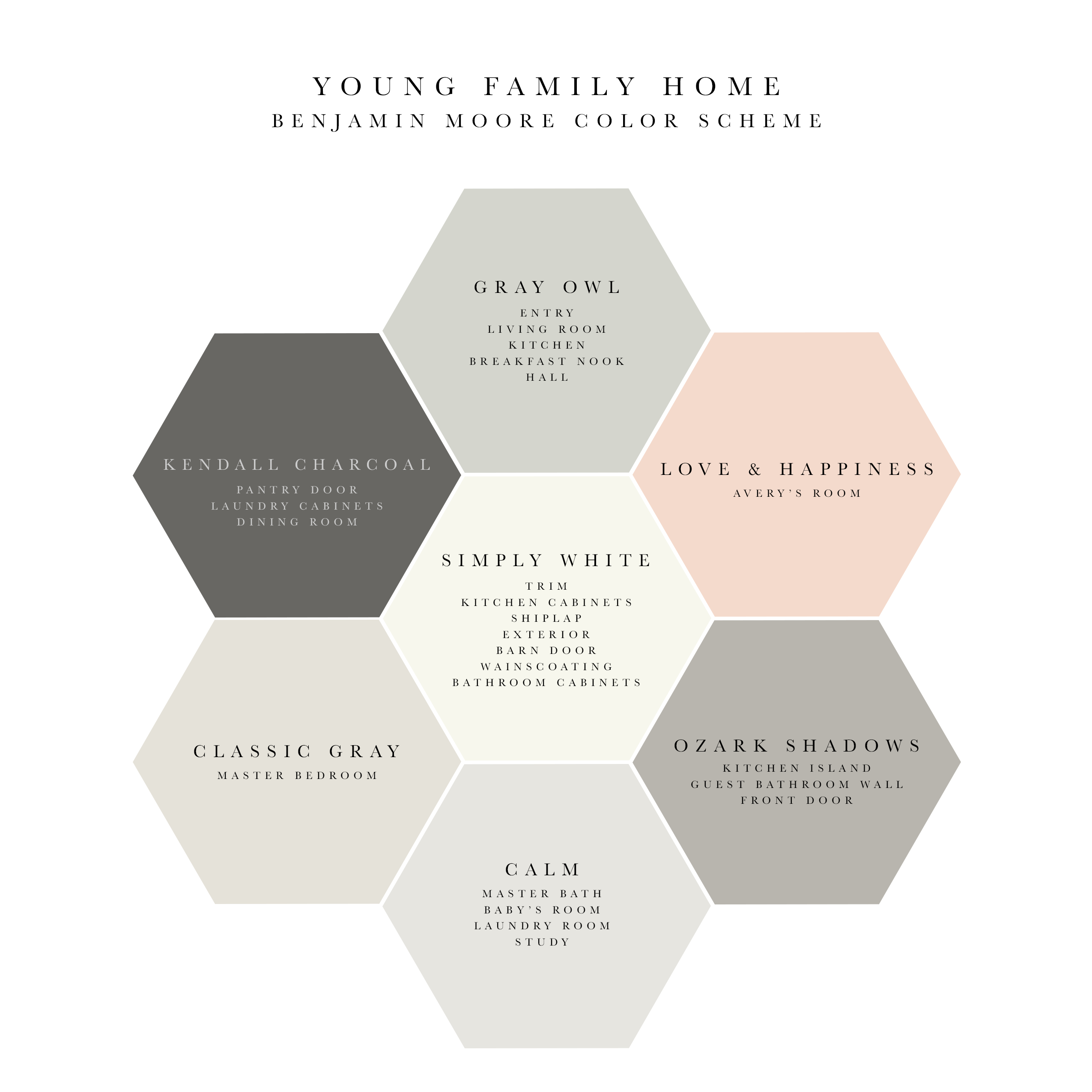 Soothing And Elegant Benjamin Moore Whole House Color Scheme For