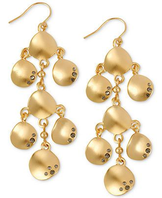 Kenneth Cole New York Earrings, Gold-Tone Pave Sculptural Disc Chandelier Earrings - Fashion Jewelry - Jewelry & Watches - Macy's