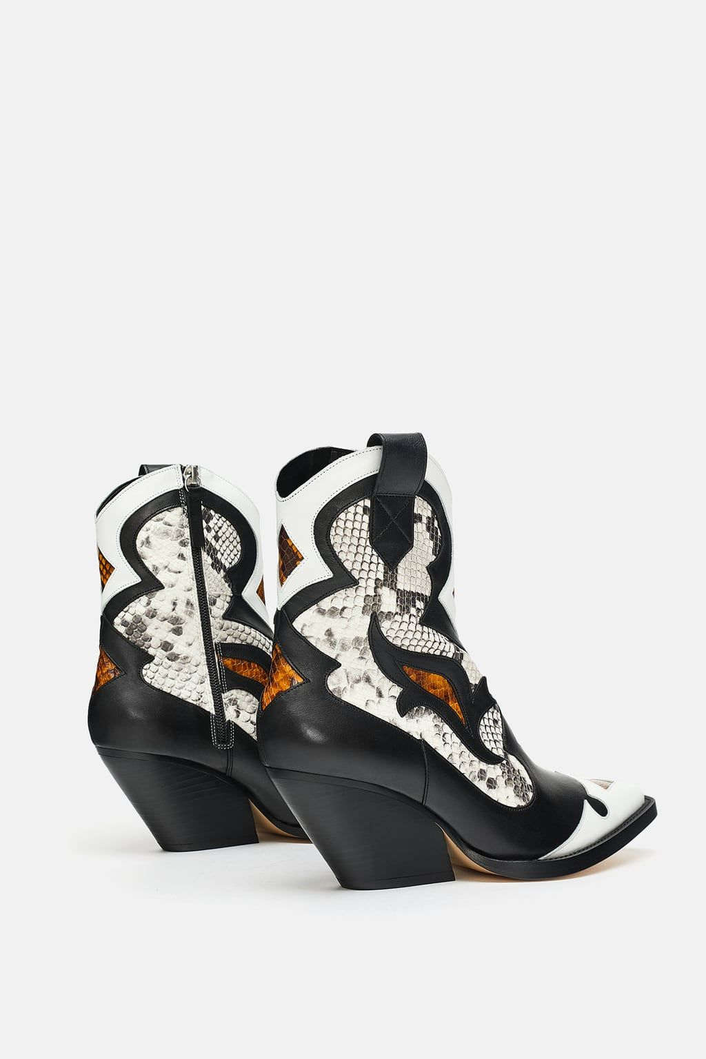 be3d44bd5 Image 5 of SNAKESKIN PRINT LEATHER COWBOY ANKLE BOOTS from Zara ...