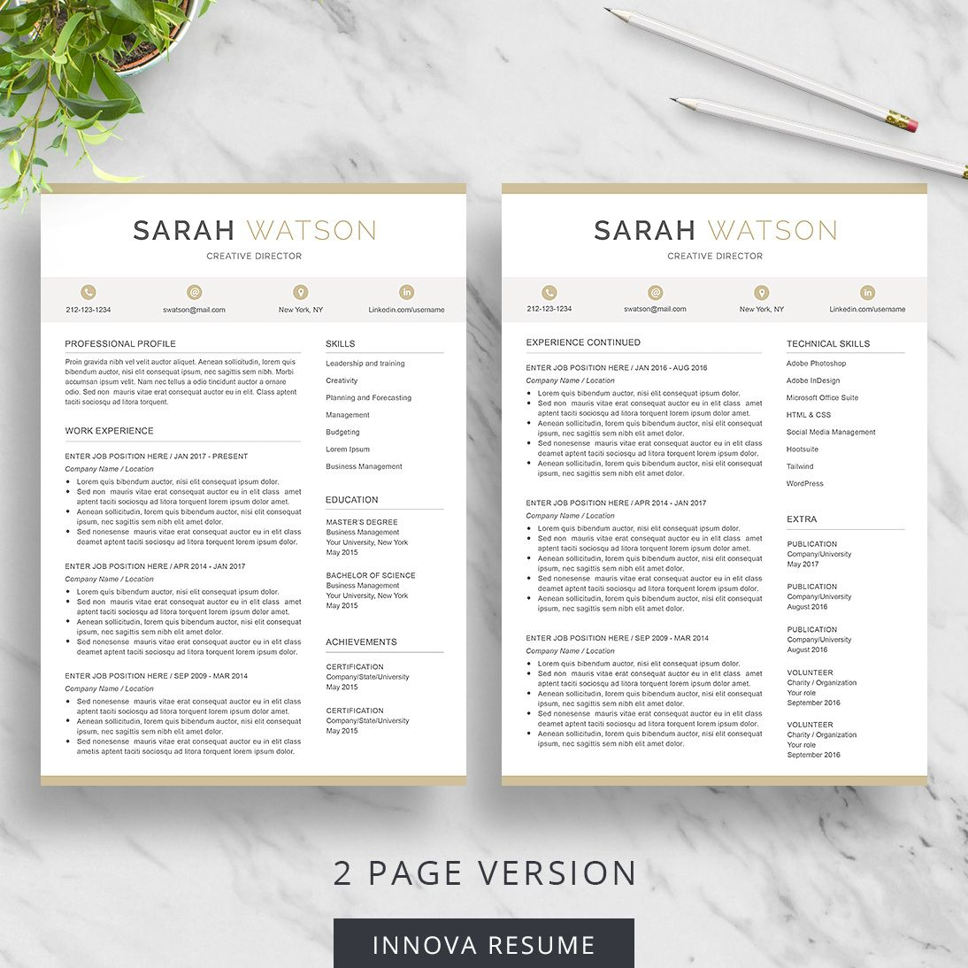 Page Resume   Page Resume All Included With The Download