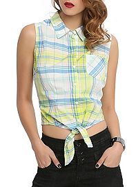 HOTTOPIC.COM - Yellow Blue Plaid  Tie Front Top