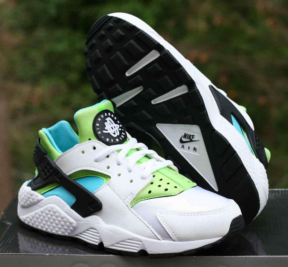 7a062340444d ... new style details about nike womens air huarache run size 6.5 white  clearwater flash lime 634835