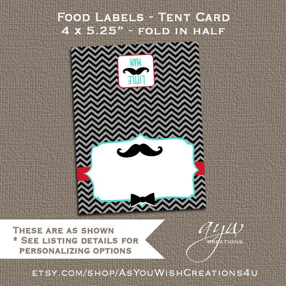 Food Labels Table Tent Little Man Mustache by AsYouWishCreations4u