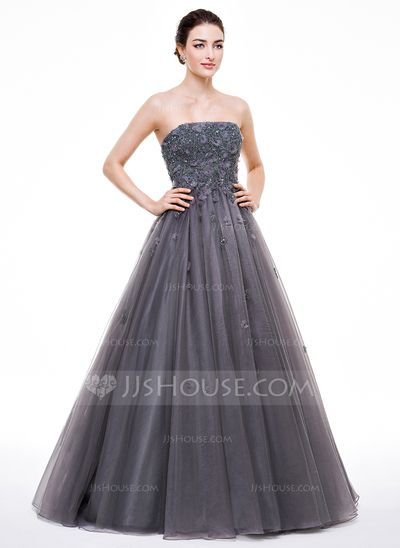 591ceacd58b Ball-Gown Strapless Floor-Length Tulle Prom Dress With Beading Appliques  Lace Flower(s) Sequins (018056632)