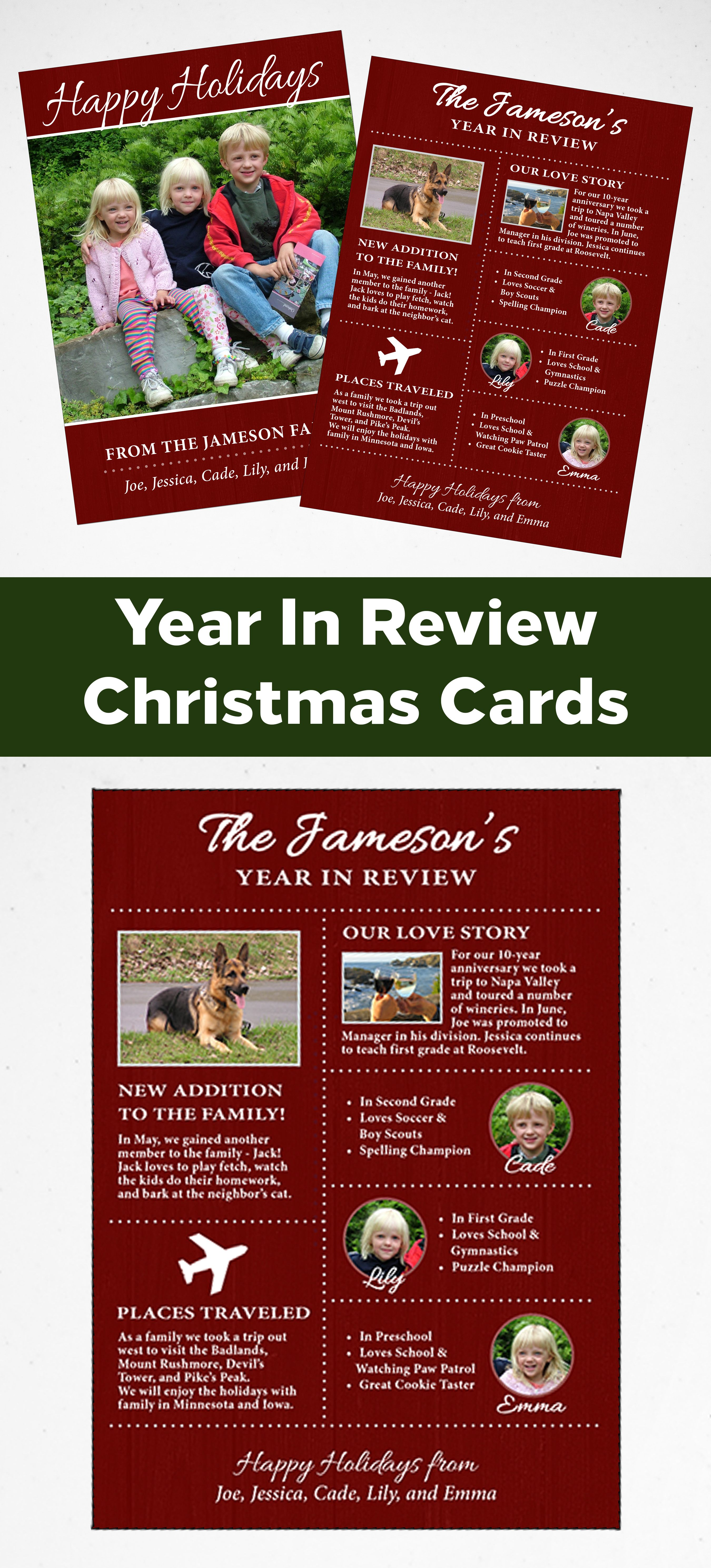 Infographic Christmas Cards Year In Review Christmas Card Template With Photos Christmas Card Template Christmas Card Sentiments Rustic Christmas Cards