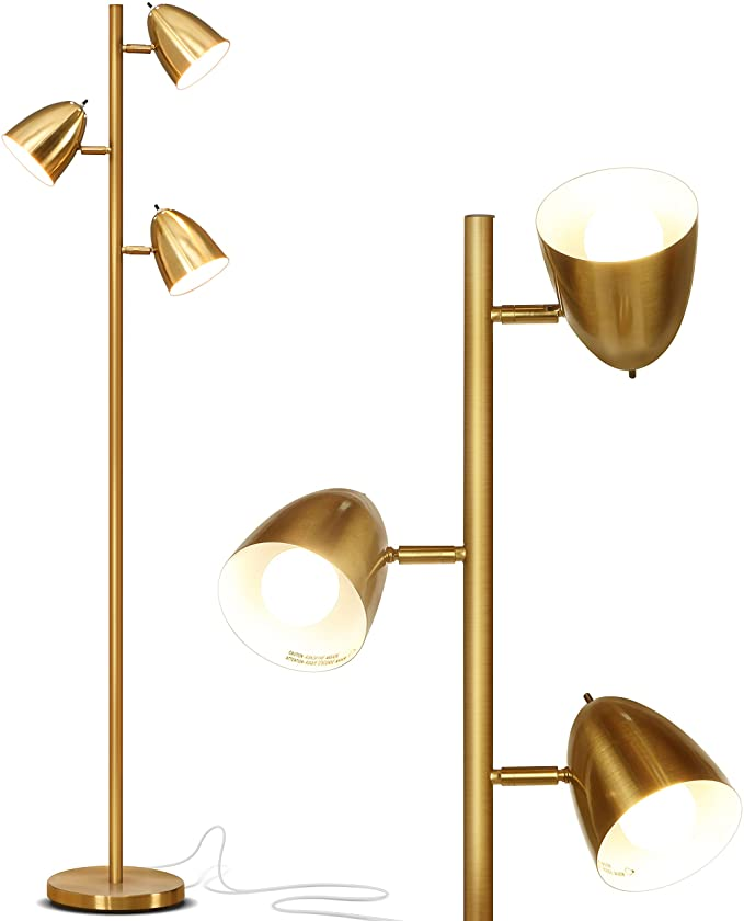 Brightech Jacob Led Reading And Floor Lamp For Living Rooms Bedrooms Classy Mid Century Modern Adjustable 3 In 2020 Pole Lamps Gold Floor Lamp Lamps Living Room