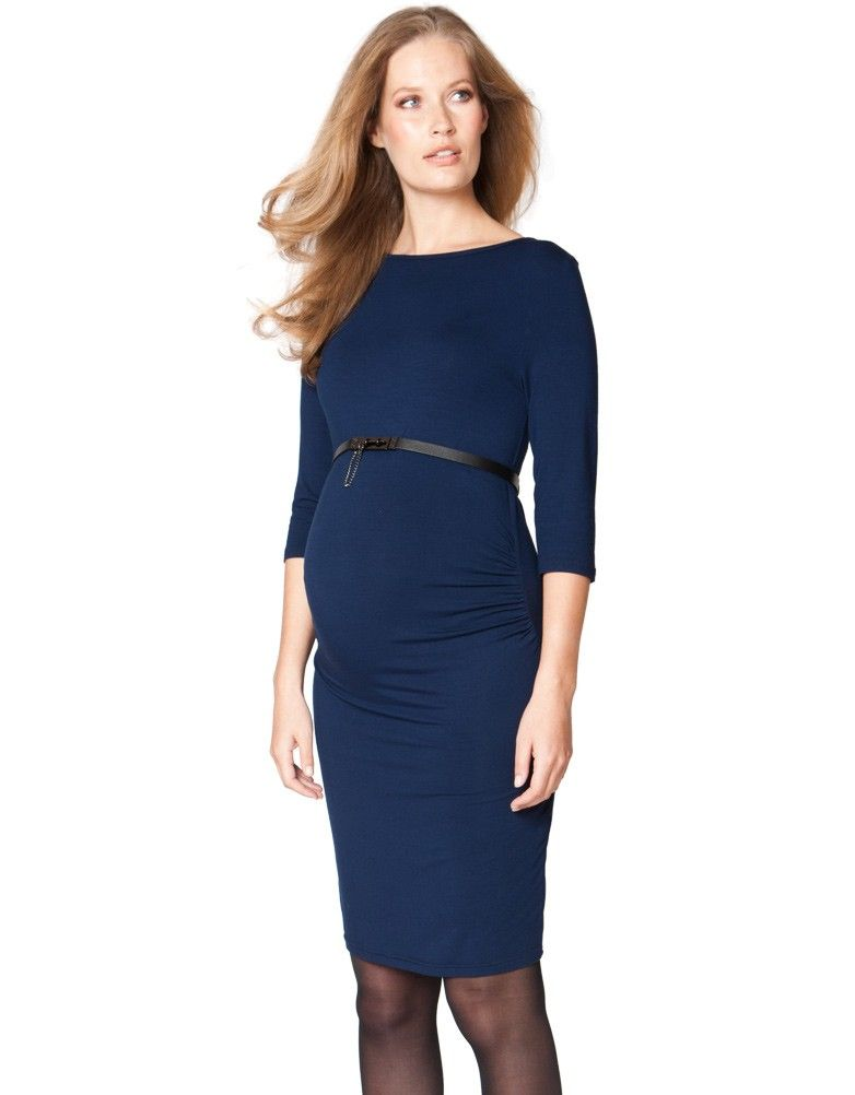 Trimester - Astute Collared Wrap Navy Blue Maternity Dress ...