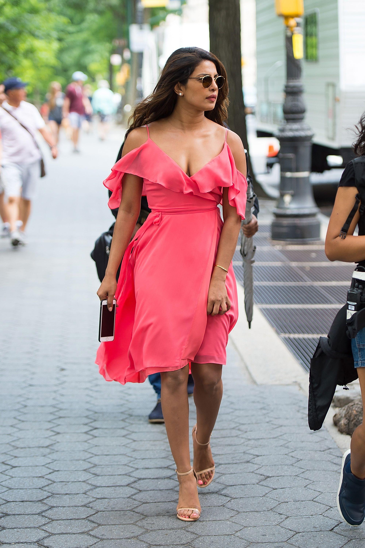 Here's where to buy Priyanka Chopra's flamingo-pink ruffle ...   Ruffle dress street style, Priyanka chopra dress, Pink dress casual