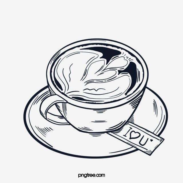 خط القهوة رسم فنجان القهوة الغربي فنجان شاي البن القدح اسود و ابيض Png وملف Psd للتحميل مجانا Line Drawing Coffee Line Coffee Cups
