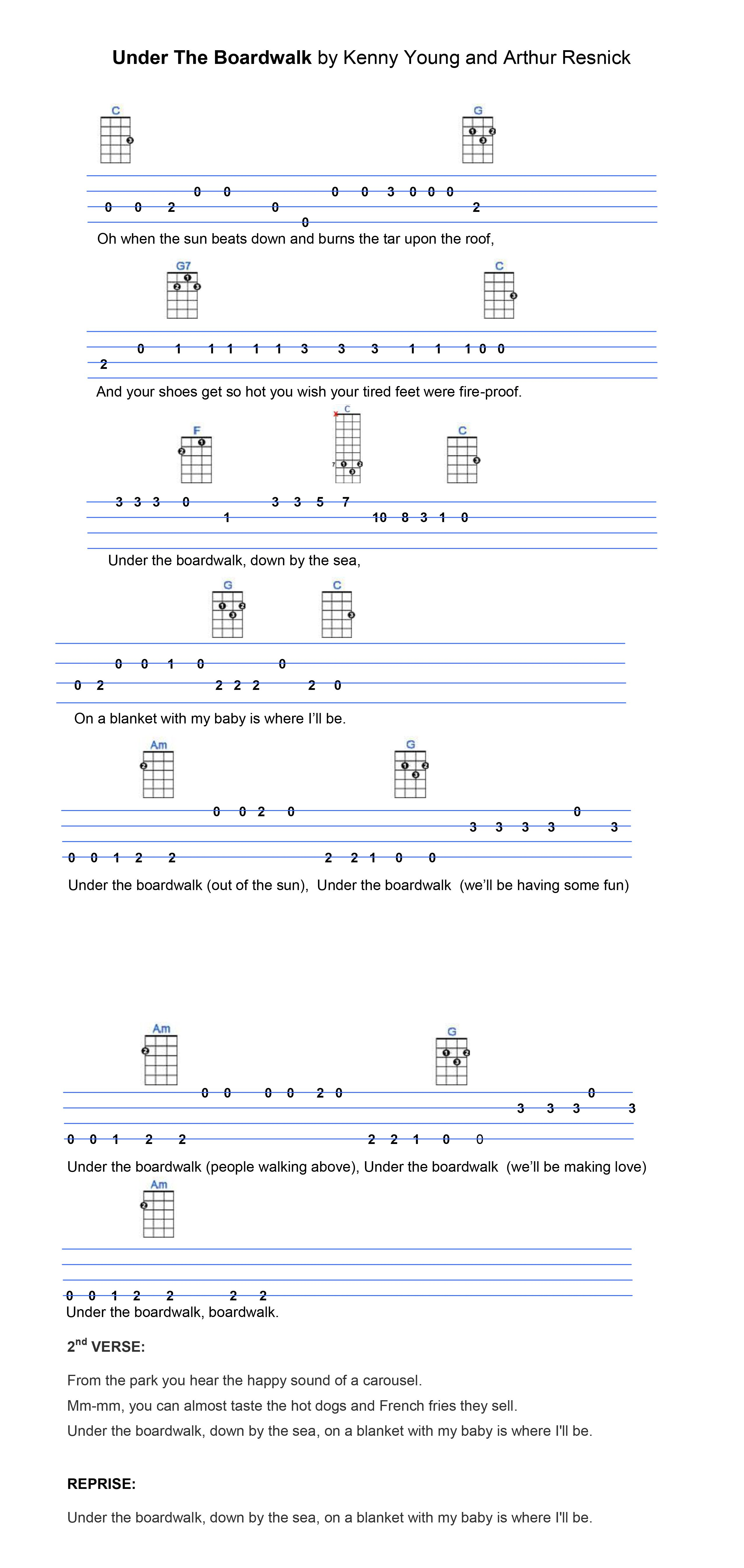 Under The Boardwalk Ukulele Tabs Pinterest Ukulele Tabs