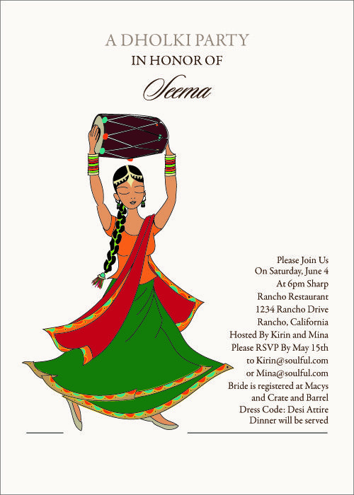 Dancing Diva Indian Bridal Shower Invitations By Soulfulmoon