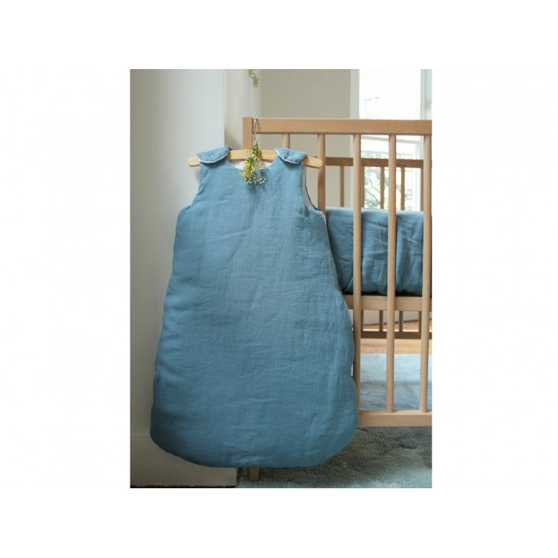 Linen Sleeping Bag - Horizon Blue duck egg baby sleeping bag - The Baby Sleep Shop