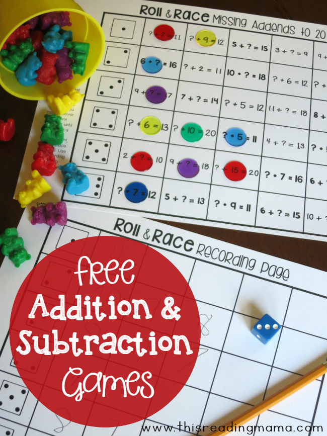 Free addition and subtraction game Math activities