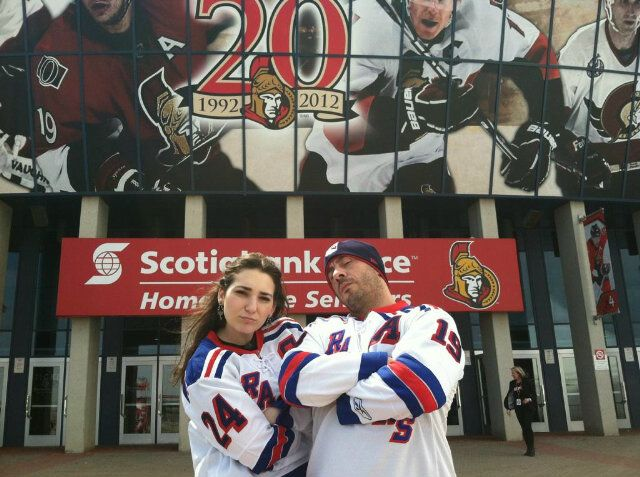 Mike and Lindsay behind enemy lines at Scotiabank Place in Ottawa!