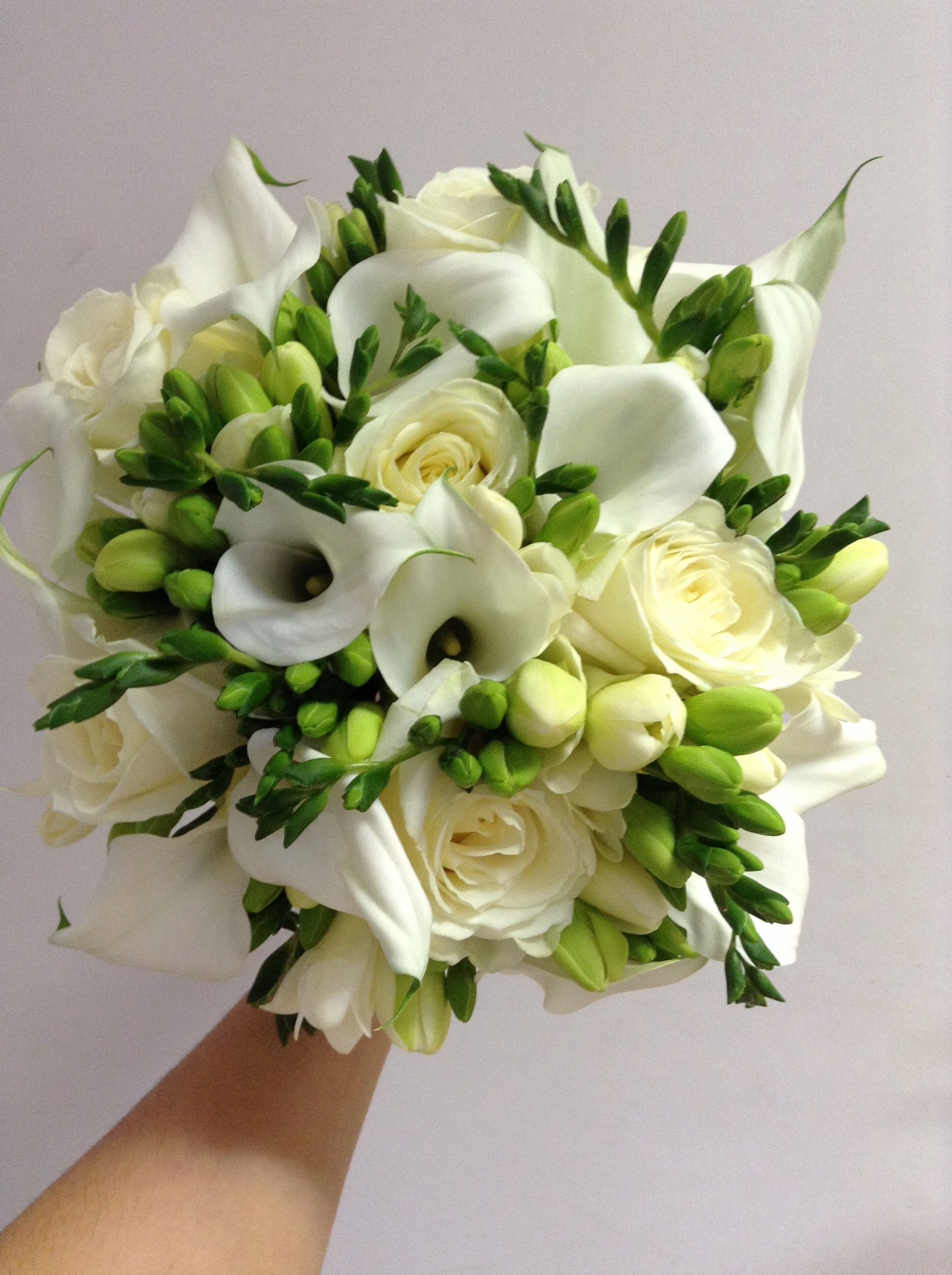 Calla Lilies Roses And Freesia Bouquet By Add Style Uk Freesia Bouquet Wedding Bouquets Wedding Flowers