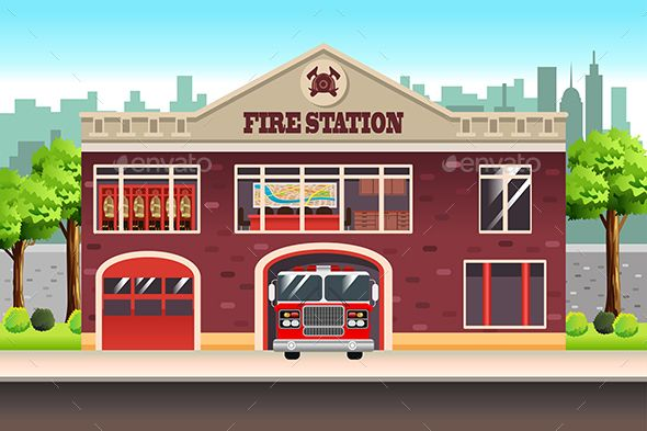 Fire Station Fire Station Building Illustration House Fire