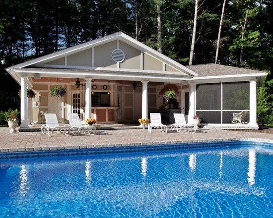 Pool House With Screen Porch Outdoor Kitchen Pool House Shed Pool Houses Small Pool Houses