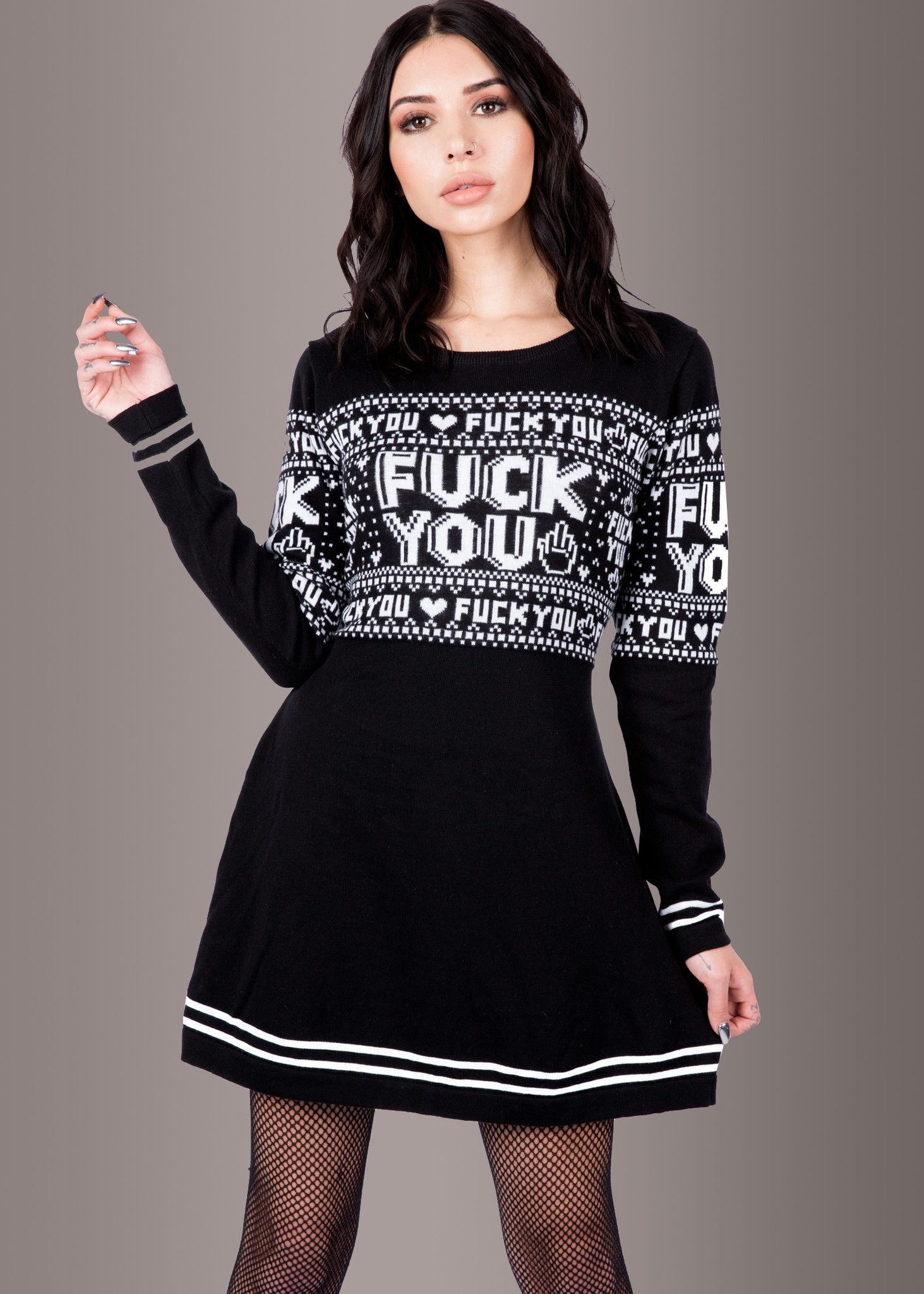 cf5562f08cbf0d Sourpuss F You Skull Sweater Dress - I would actually wear this haha ...