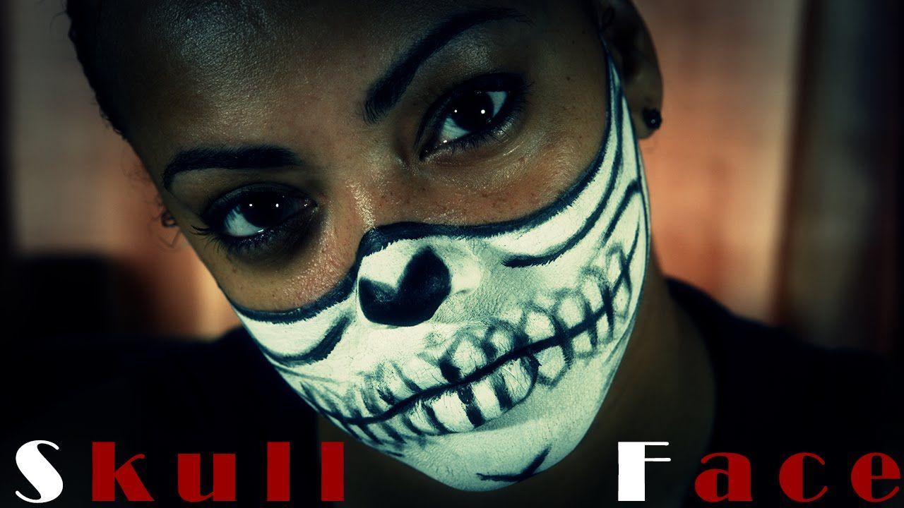 HalfSkull Face Makeup Tutorial Half skull face, Skull