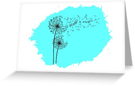 Blow A Dandelion And Make A Wish Cute Blowing Dandelions On A Blue Background Make A Wish Millions O Blowing Dandelion Greeting Cards Greeting Card Design