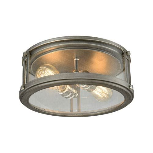 Elk lighting coby weathered zinc and polished nickel 13 inch two light flush mount on sale