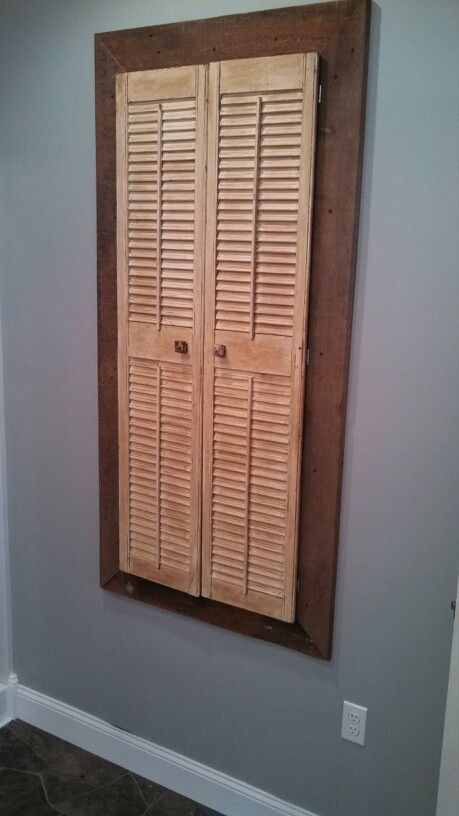 shutters aged with briwax with barn wood frame to hide a. Black Bedroom Furniture Sets. Home Design Ideas