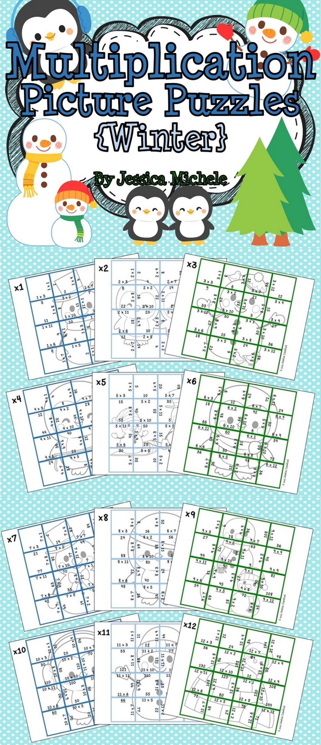 Multiplication Picture Puzzles Winter
