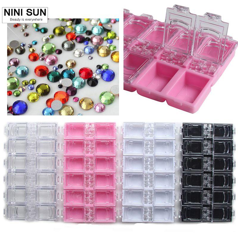 New 12 Checks Empty Nail Art Decorations Storage Case Box Nail ...