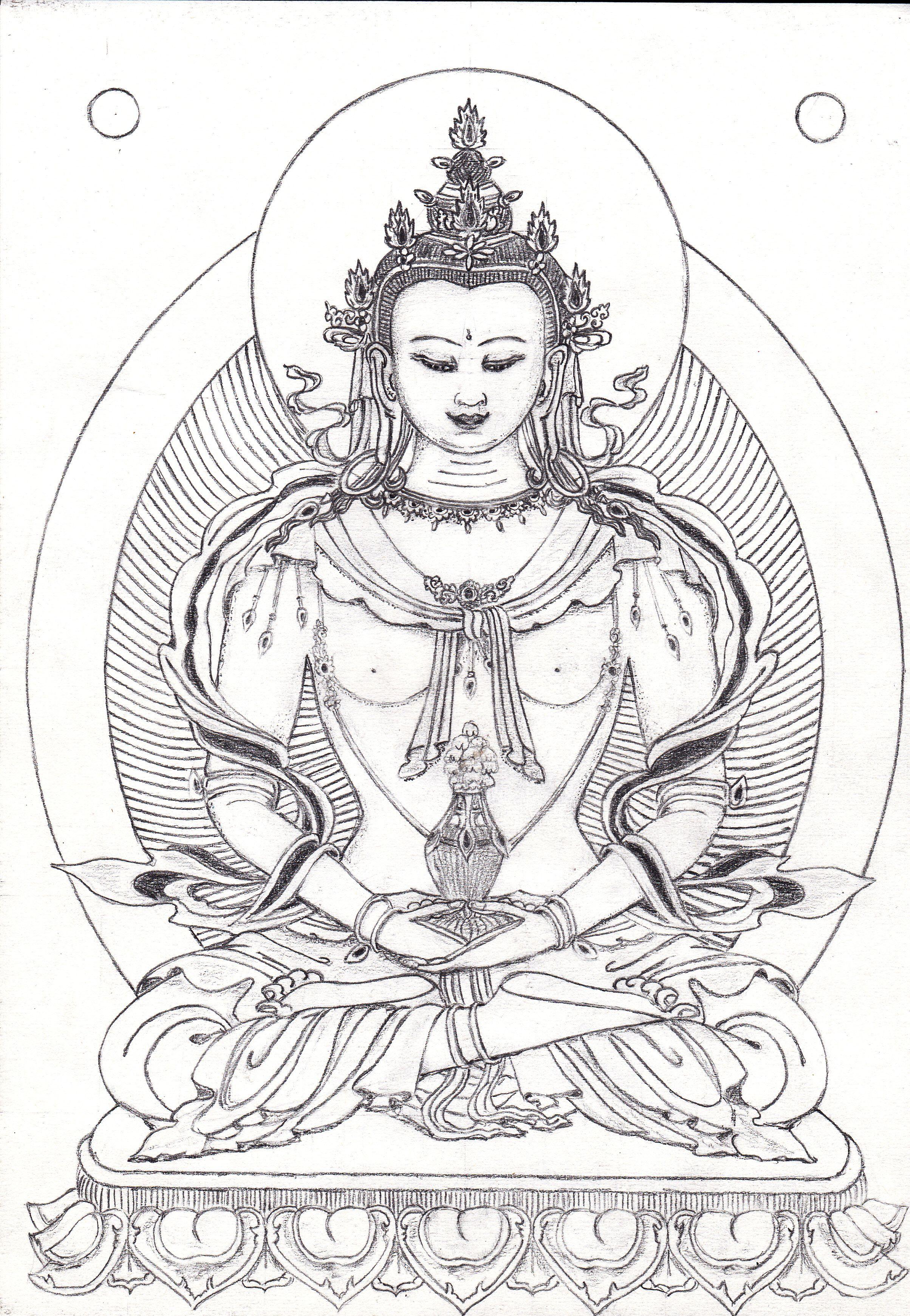 drawing on paper 2011 buddha buddhist