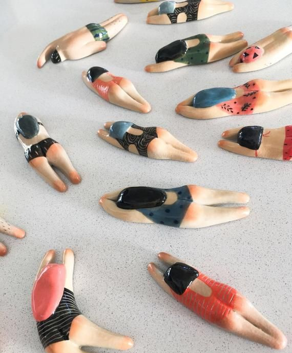 Photo of Super unique handmade ceramic summer swimming theme magnets by Artist Junty