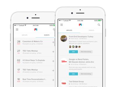 Meetup App App, App design, Mobile app