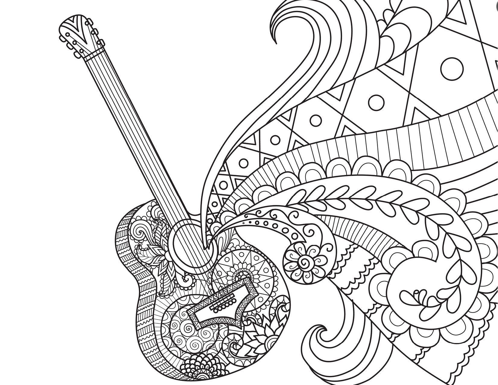 Guitare Disney Coco movie musique à colorier par Bimbimkha