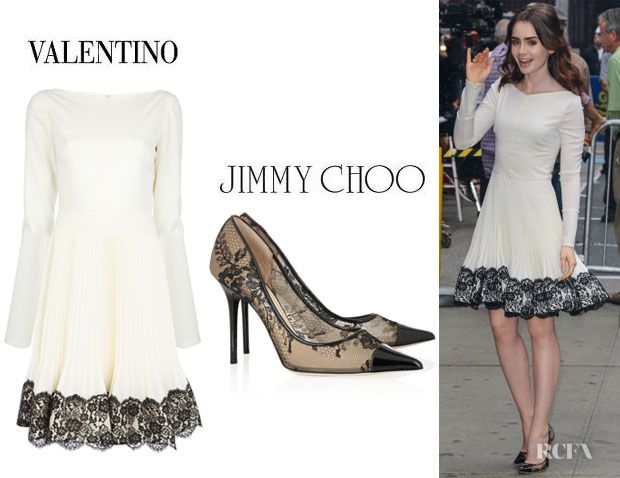e8eddd27396 Lily Collins  Valentino Lace Hem Wool Dress And Jimmy Choo  Amika  Lace  Pumps