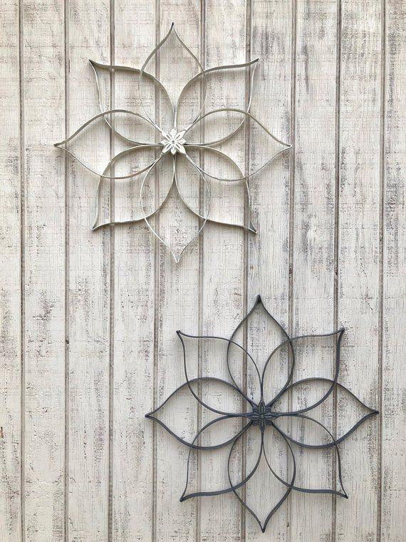 Shabby Chic Wall Art, Metal Wall Decor, Flower Art Wall