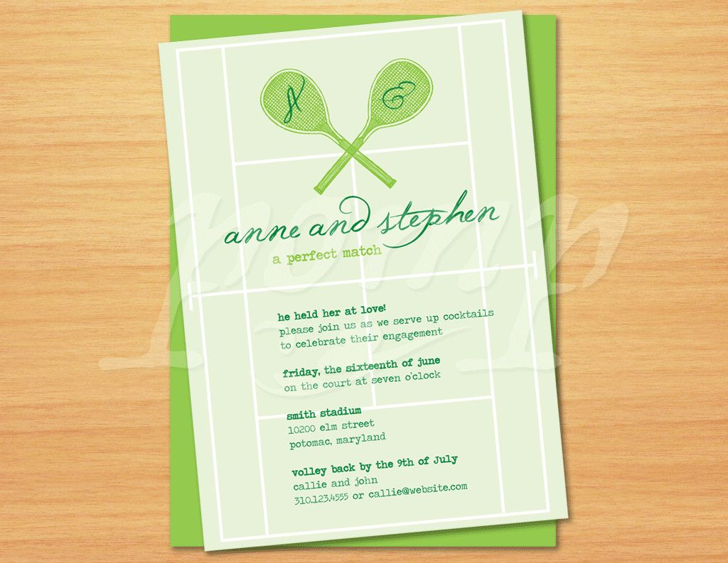 Printable Invitation or Save the Date -- Tennis, A Perfect Match ...