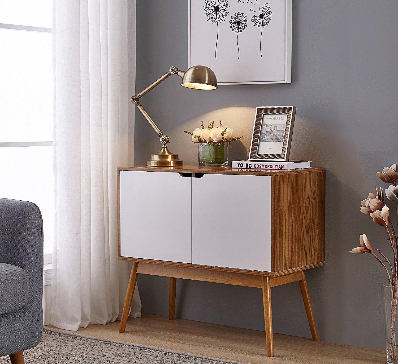 Amazon White Woodgrain Mid Century Style Console Sofa Table