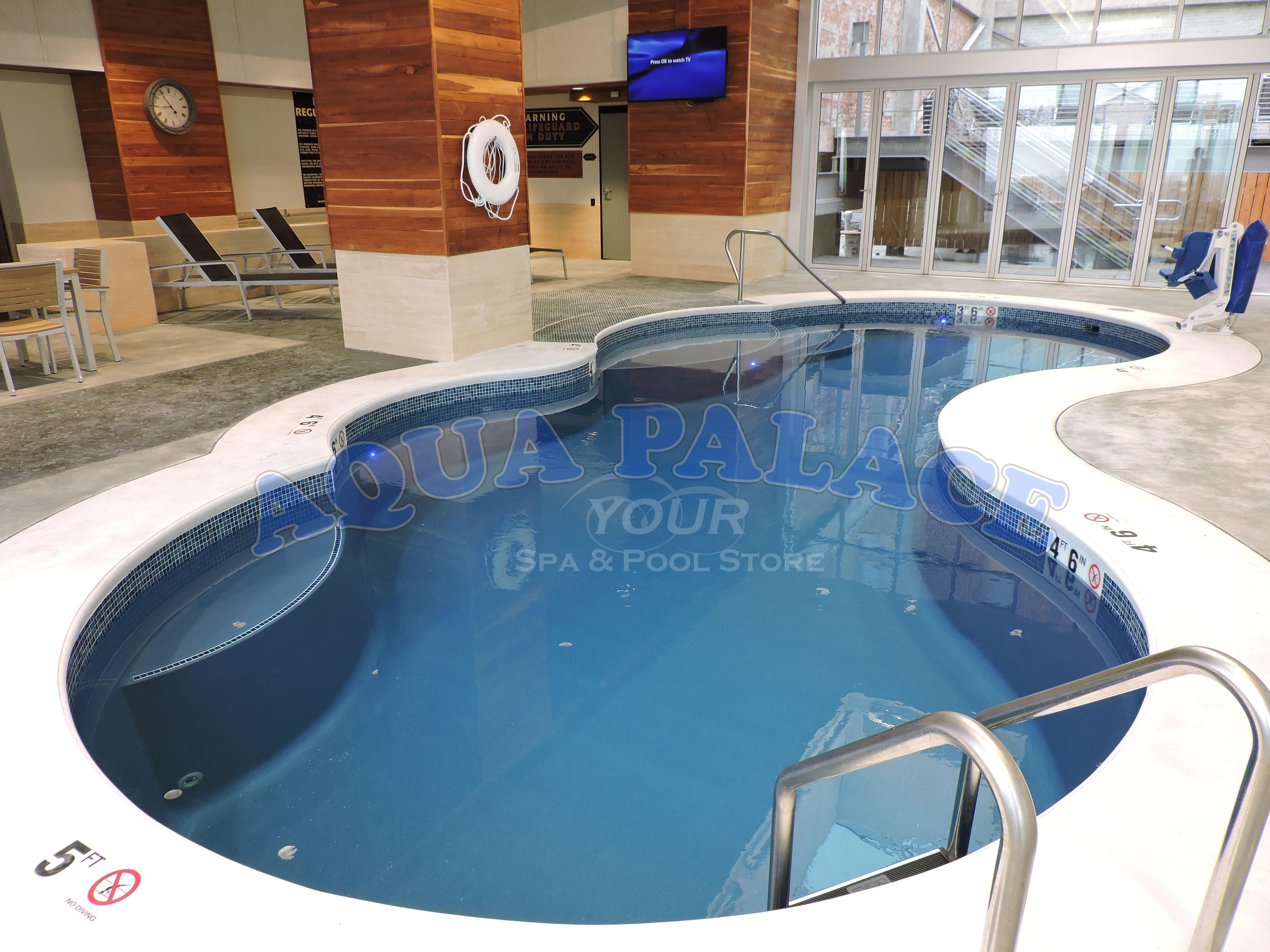 Fiberglass Pool On 13th Floor Inside Of Downtown Omaha Ne Apartment Complex Custom Pool Tile Concrete Work Around Pool Peri Pool Pool Designs Swimming Pools