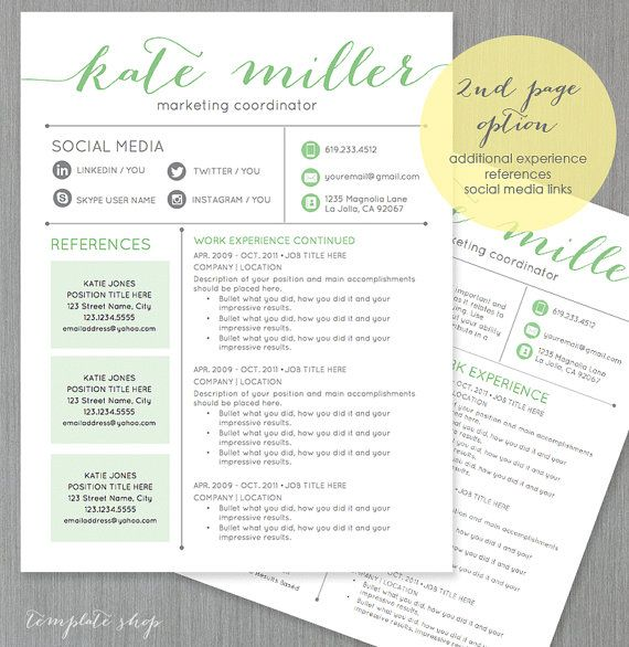 Resume Template Cv Template For Word 4 Pack Social Media Etsy Resume Template One Page Resume Template Cv Template