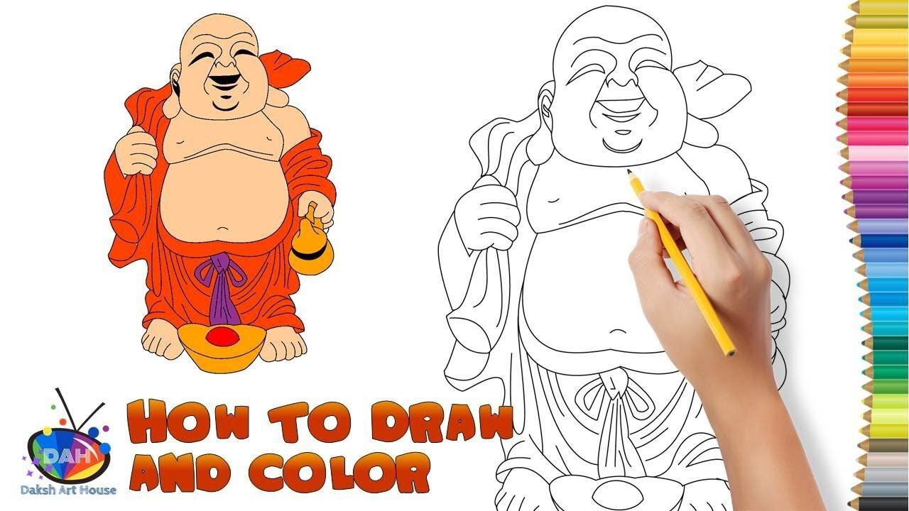 how to draw and paint laughing buddha step by step how to draw and