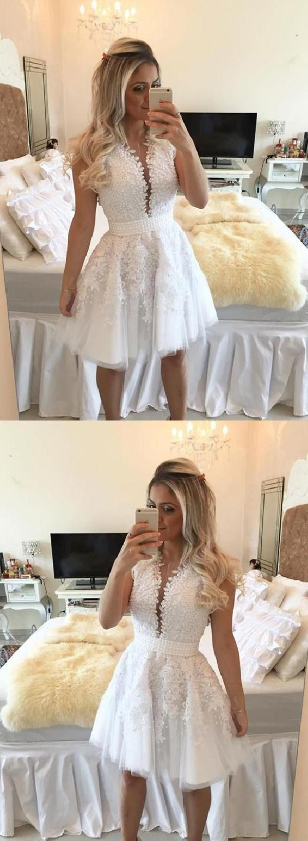 Cheap popular short prom dress white lace homecoming dresses lace