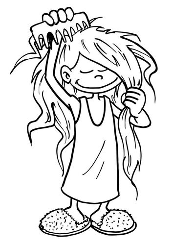 Coloring Page To Comb One S Hair Coloring Pages Sketches