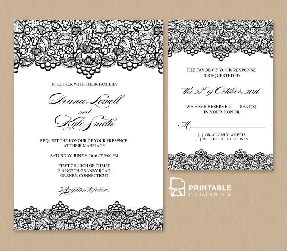 Free Pdf Wedding Invitation Template Black Lace Vintage And Rsvp Is Easy To Edit Enter Your Own Event Information Print At