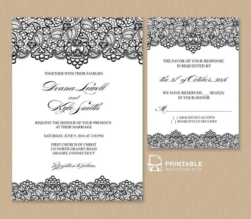Free PDF Wedding Invitation Template  Black Lace Vintage Wedding Invitation and RSVP Template