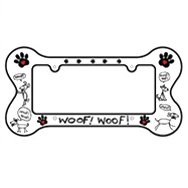 bone shaped license plate frame woof woof at baxterboo