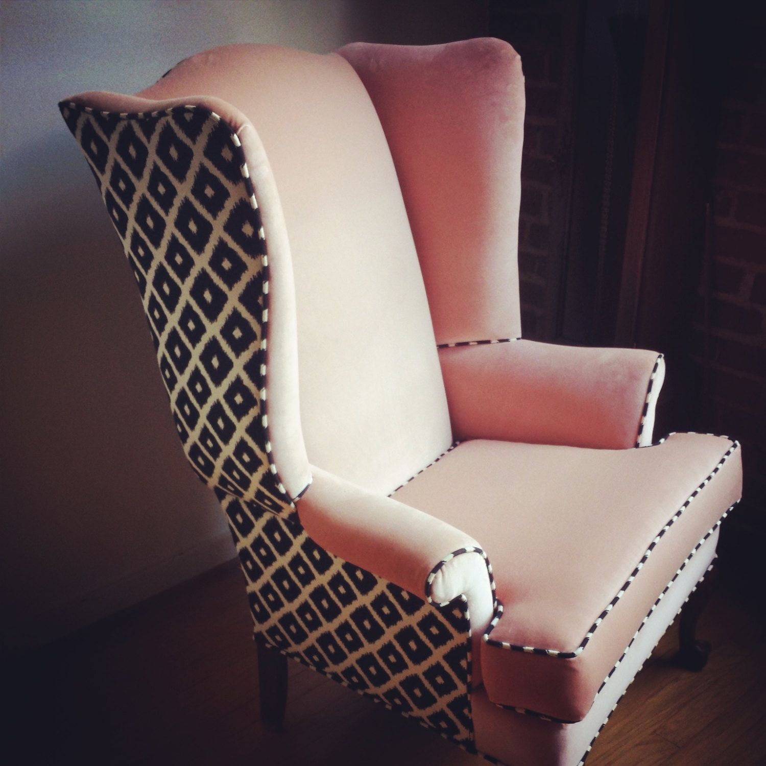 Multi Fabric Upholstered Wingback Chairs   Google Search