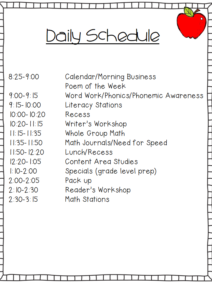 Peek At My Week The First Days Of School School Kindergarten - Daily lesson plan template for kindergarten