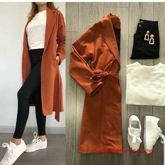 2019 combinaisons de baskets pantalon skinny noir chemisier blanc cardigan long cannelle baskets blanches   – Fashion