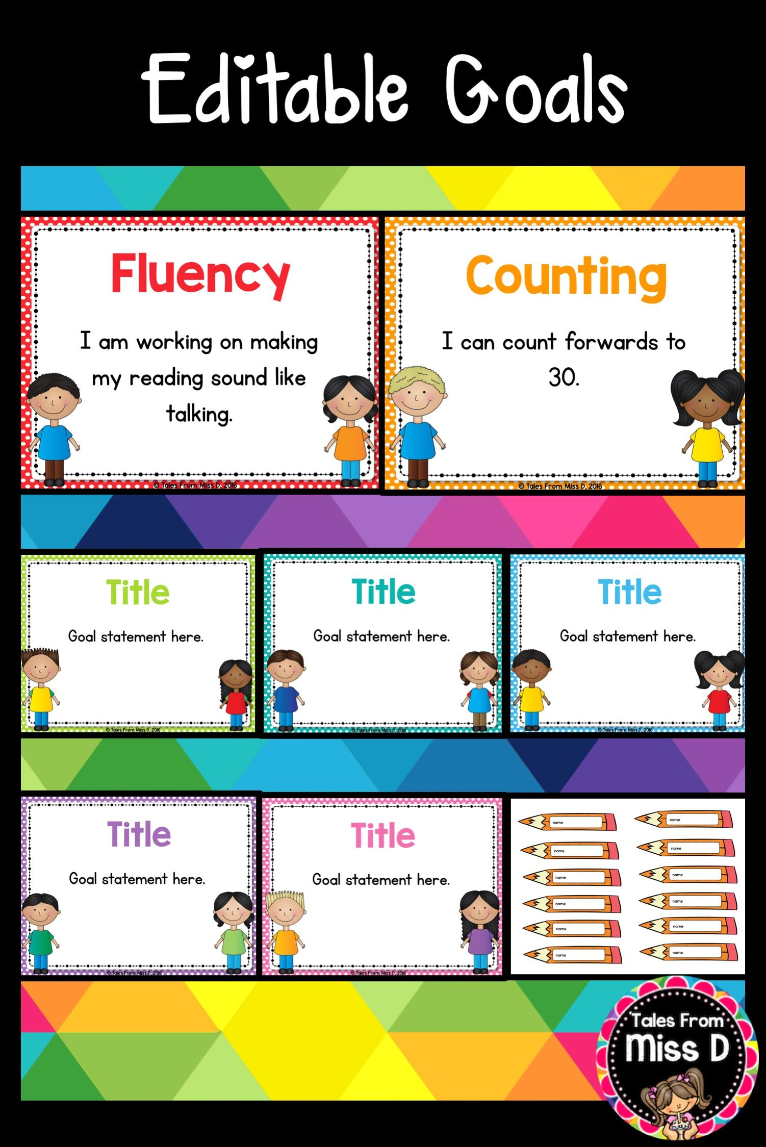 Editable Goal Posters  Behavior Goals Reading Goals And Writing