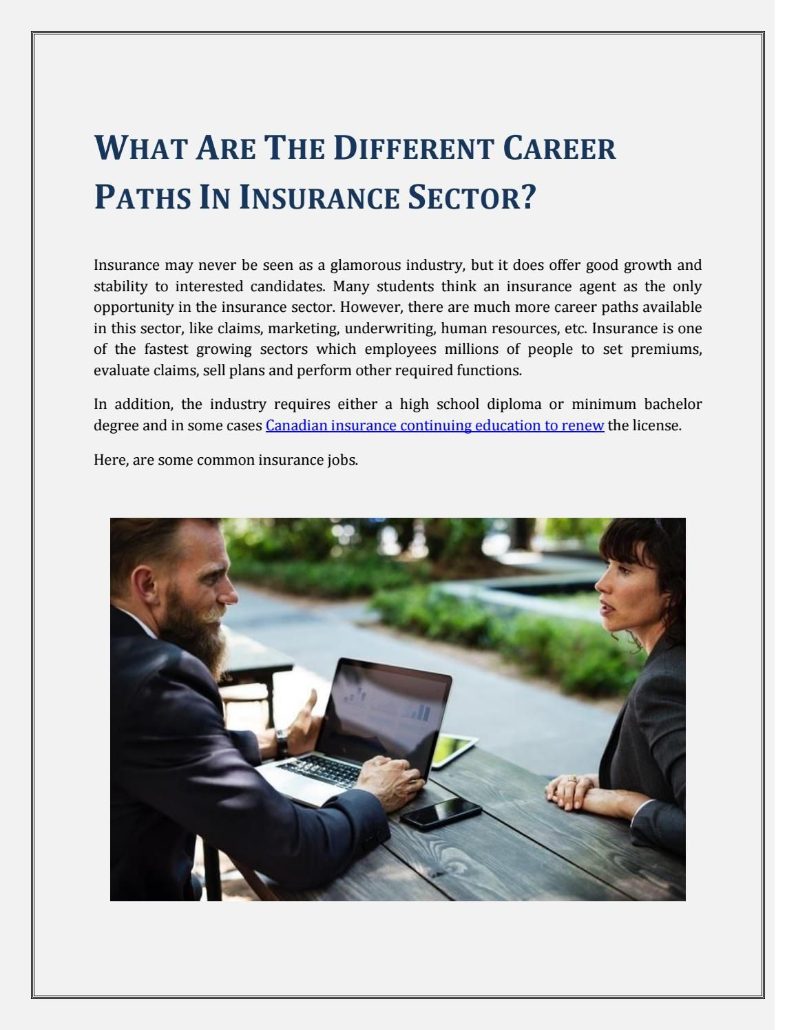 What are the Different Career Paths In Insurance Sector